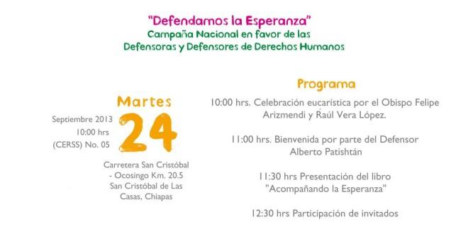 Presentación del libro: «Acompañando la Esperanza». 20 experiencias en defensa y promoción de los derechos humanos.