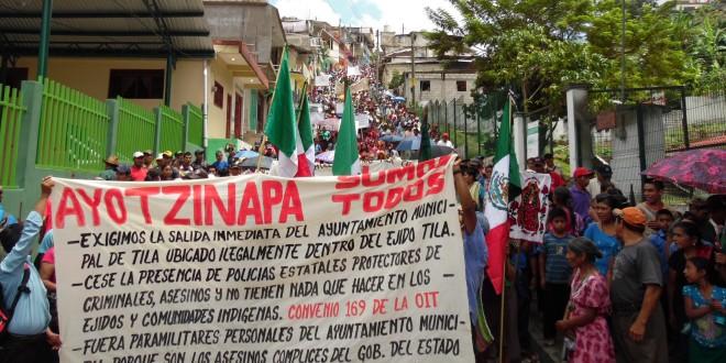 Marcha y toma simbólica de Ayuntamiento «Por la independencia y respeto al ejido Tila».