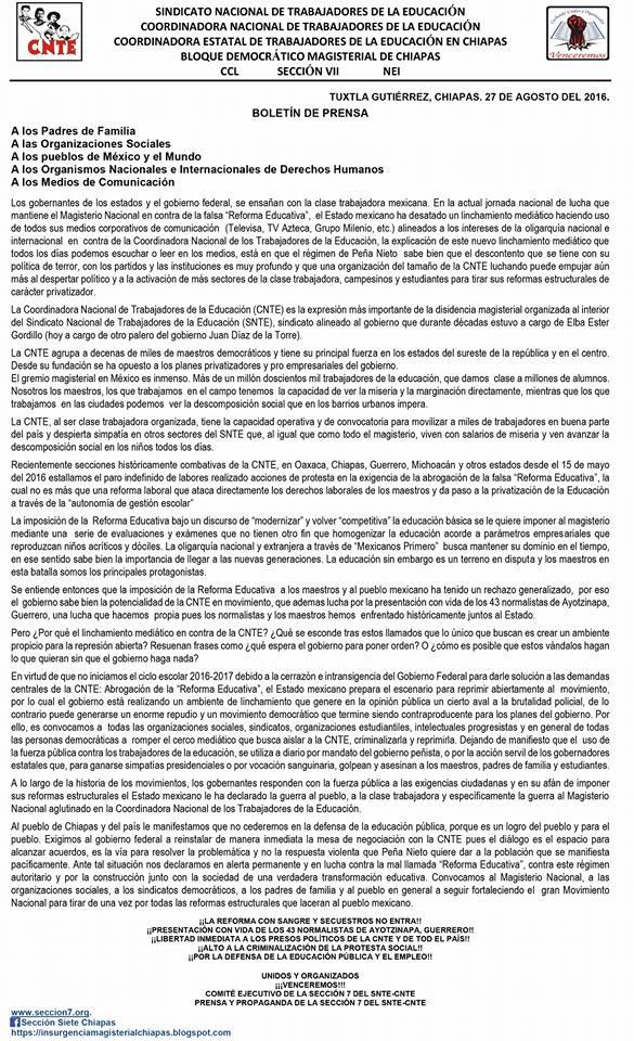 CNTE CHIAPAS AGO 2016