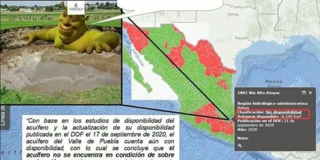 Puebla: «frente al socavón, Conagua solapa la explotación del agua», denuncia el FPDTAMPT