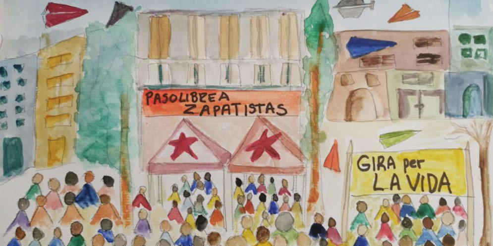 Anfitriones de la fuerza aérea del EZLN protestan en toda Slumil K'axjemk'op