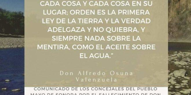 México: Pueblo Mayo de Sonora anuncia el fallecimiento de Don Alfredo Osuna